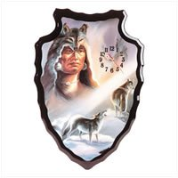 Indian with Wolves Clock Wall Clock