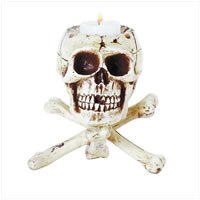 Skull and Crossbones Candle Holder 31079