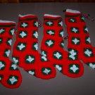hand crochet stockings christmas lot of 4