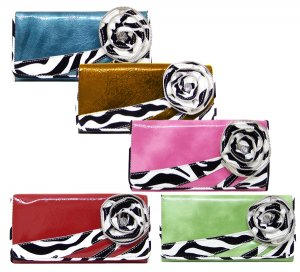 HOT ZEBRA FLOWER LADIES FASHION CHECKBOOK WALLET PURSE