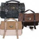 Rosette Flower Studded Satchel Handbag Purse Black Brown Beige Tan