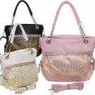 Rhinestone Croc. Gold Print Handbag Designer Inspired Purse Black Pink White