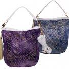 Denim Rhinestone Gold Glitter Tote Bag Ladies Handbag Purse White Trim