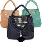 Fringe Rhinestone Crystal Ladies Fashion Handbag Purse Black Green Khaki Tan