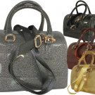 Ladies Designer Inspired Shiny Jelly Glitter Handbag Purse Bronze Pewter Gold