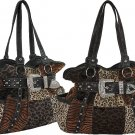 Ladies Designer Rhinestone Buckle Leopard Fur Patchwork Handbag Brown Black