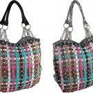 Rhinestone Multi. Color Stripe Snake Skin Chain Handle Handbag Purse Black White