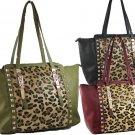Ladies Designer Inspired Leopard Fur Gold Studded Handbag Purse Black Red Green