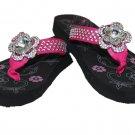 Rhinestone Flower Ladies  Flip Flops with Rhinestone Lining Fuchsia Pink