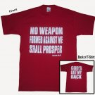Large Red  &quot;No Weapon&quot; T-Shirt (2 sided)