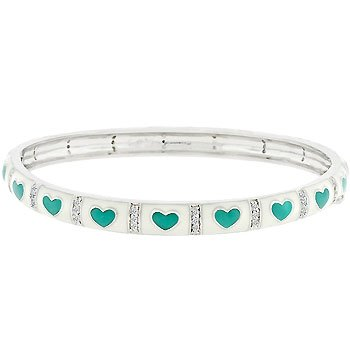 Green Heart Bangle Bracelet
