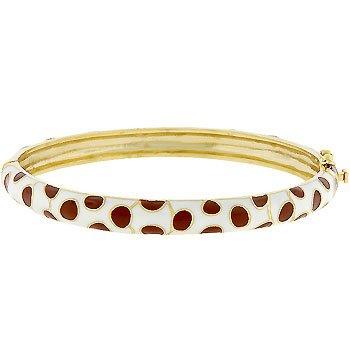 Spotted Goldtone Bangle Bracelet