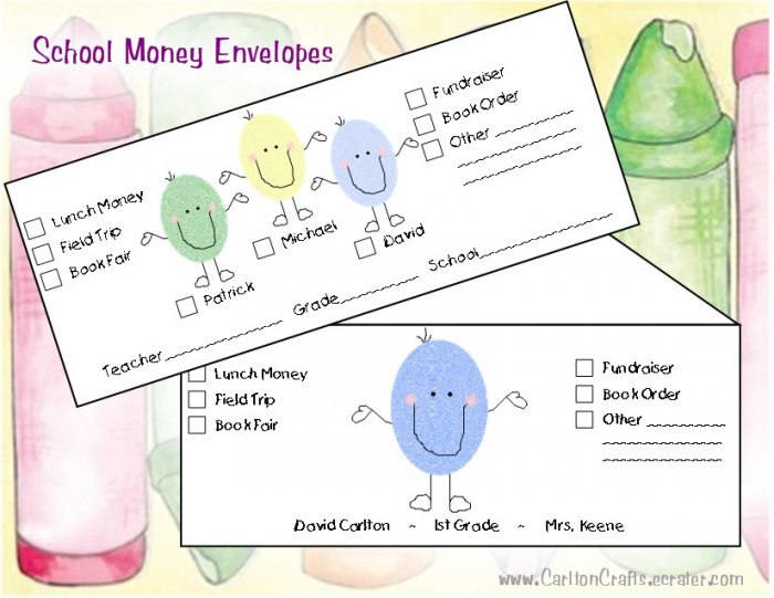 School Money Envelopes