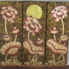 Lotus,Handmade Acrylic With Gold Foil on Canvas Set Of 3Pcs - A01