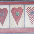 Debbie Mumm Wallpaper Border - Country HEARTS & Buttons - NEW NIP
