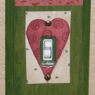 Decorative Handmade Wood Single Toggle Switch Plate Country Hearts