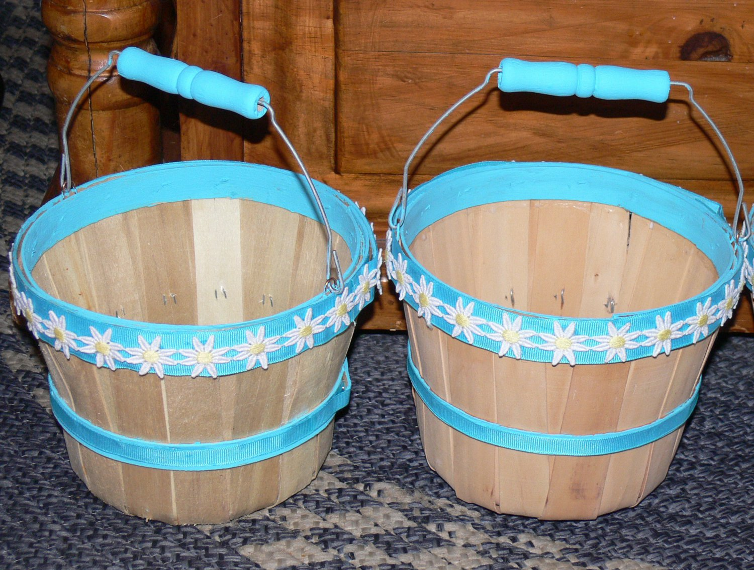Hand Decorated Basket Bucket Wedding Flower Girl Teal Turquoise W Daisies