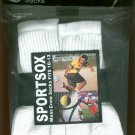 Mens 6 pair SPORTSOX White Crew Socks