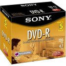 Sony DVD-R 16X 4.7 GB 5DMR47L3 Sealed (5- Pack)