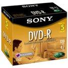Sony DVD-R 16X 4.7 GB 5DMR47L4 Sealed (5- Pack)