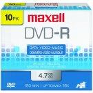 Maxell DVD-R 16X  4.7 GB media (10/Pack)