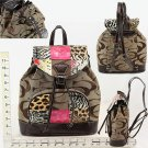 Purse - Khaki/Brown CC Print With Animal Print Patch Work