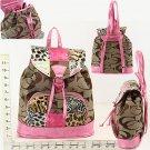 Purse - Khaki/Pink CC Print With Animal Print Patch Work