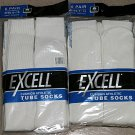 6 Pairs Excell Mens White Cotton Sport Tube Socks