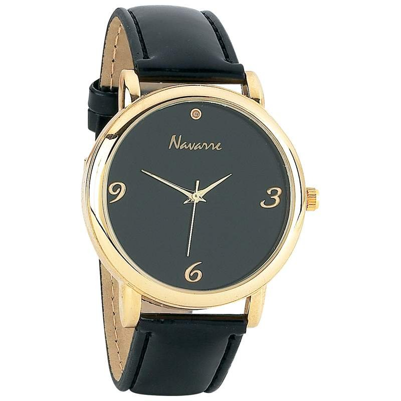 Navarre Men's Japan Quartz Movement Diamond Watch with Velveteen Pouch