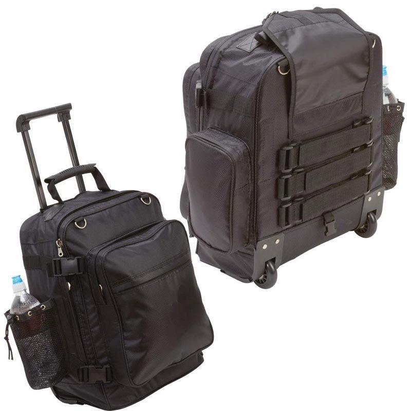 Diamond Plate Black Motorcycle Trolley Bag with Skate Wheels