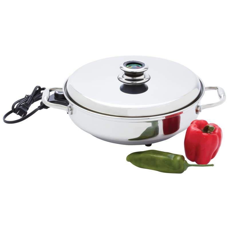 """Chef's Secret 12"""" T304 Stainless Steel Deep Electric Skillet"""
