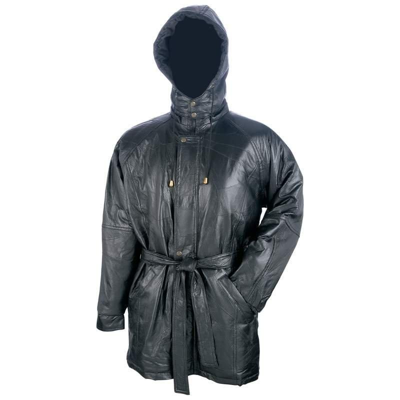 Giovanni Navarre Italian Stone Design Leather Heavy Coat - Size X L