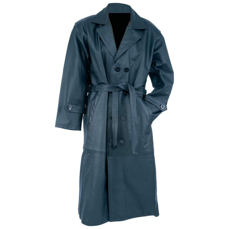 Rocky Mountain Hides Solid Cowhide Leather Trench Coat - Size Medium
