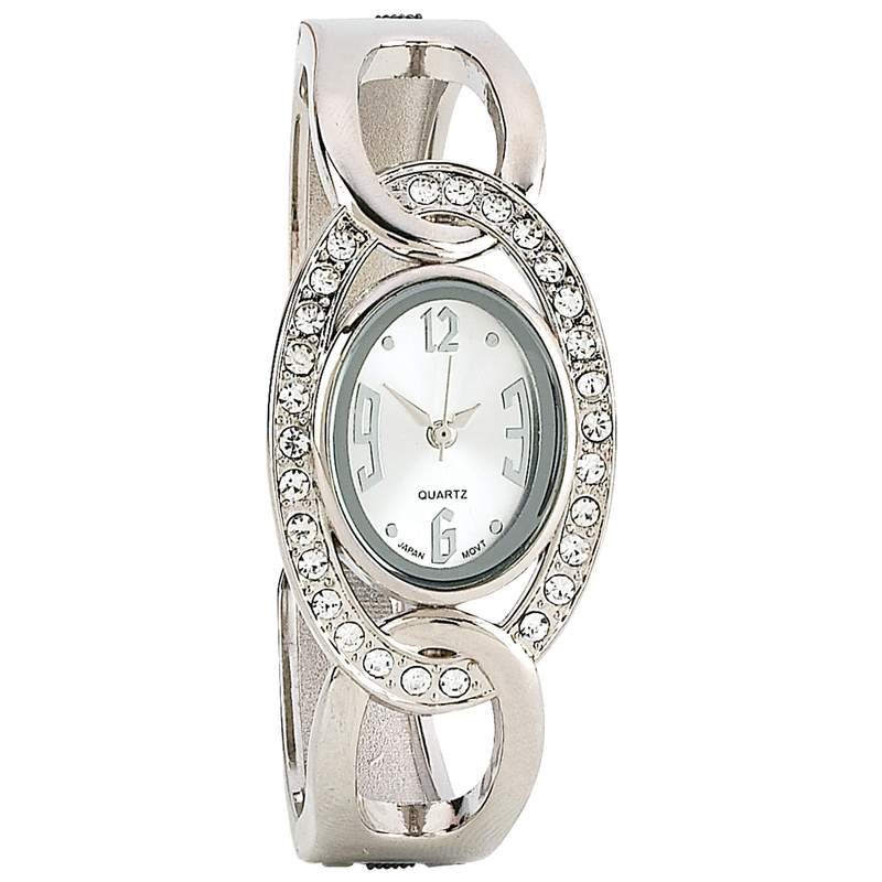 Navarre Ladies Silver Tone Japan Quartz Movement Faux Diamond Watch