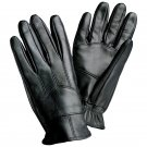 Giovanni Navarre Black Solid Leather Driving Gloves-Size Medium
