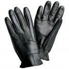 Giovanni Navarre Black Solid Leather Driving Gloves-Size Large