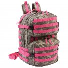 ExtremePak Camouflage Water-Resistant Backpack with Pink Webbing
