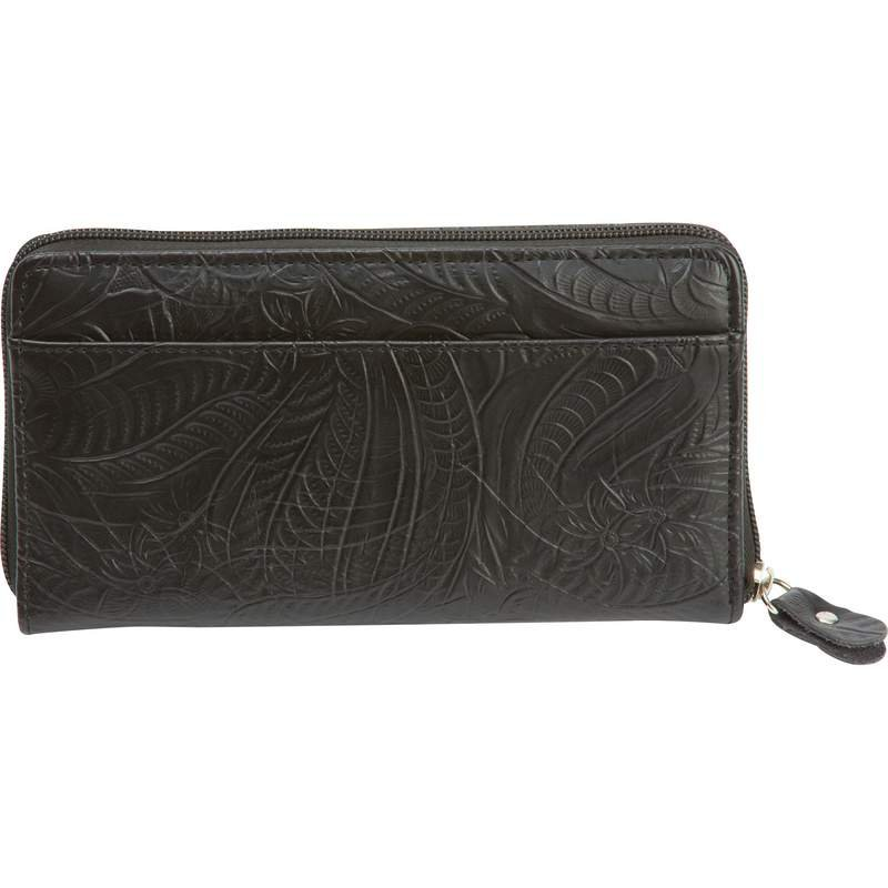 Casual Outfitters Black Leather Ladies Zippered Closure Wallet