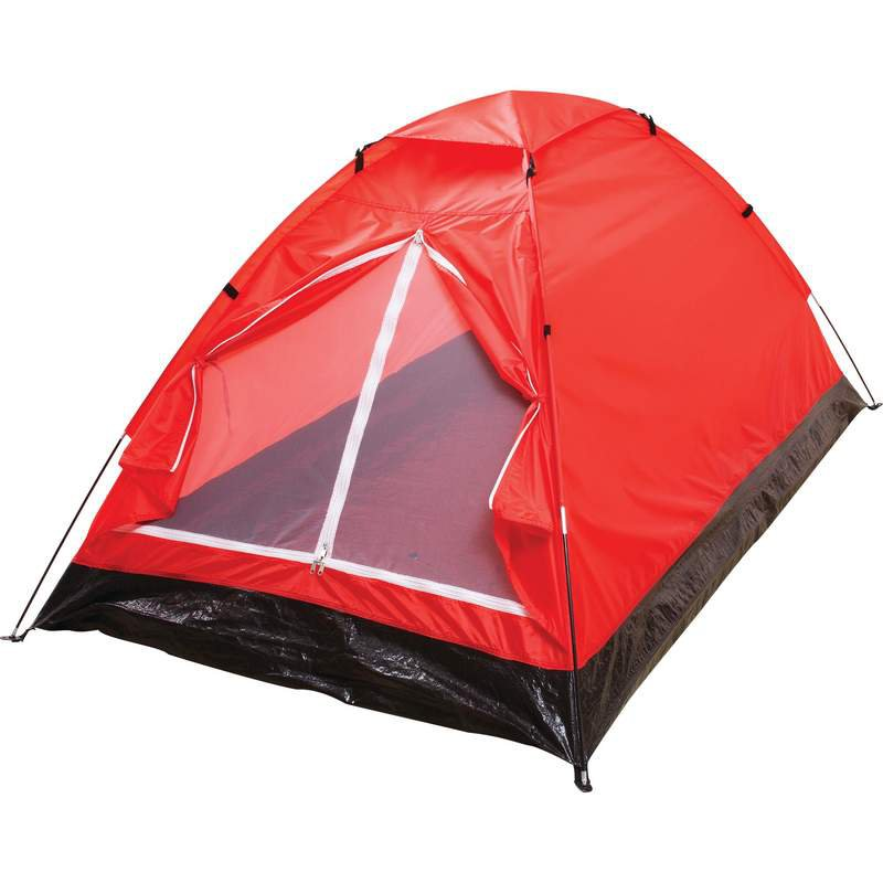 Extra-Long Red 2-Person waterproof Tent With Detachable Rain Fly
