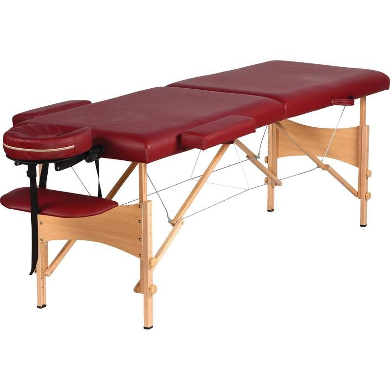 Burgundy portable massage table with adjustable height and case - Portable massage table walmart ...