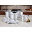 Lacusine 12pc Aluminum Steamer Stockpot Set with Riveted Handles