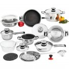 26pc 12-Element, Heavy-Gauge Non-Stick Stainless Steel Cookware