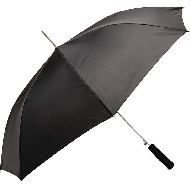 "48"" Black Auto-Open Umbrella with Black Straight Handle"