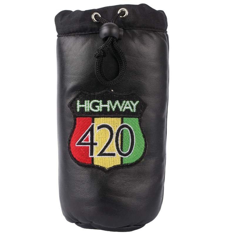Highway 420 Black Genuine Leather Pipe Storage Bag New
