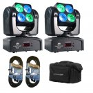 (2) ADJ Products Inno Pocket Wash Mini Moving Head With Bright LED Power W/ 2 Bags and 2 DMX Cables