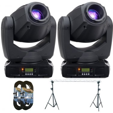 (2) ADJ Products Inno Spot Pro LED Powered Moving Head. W/ Triangular Steel Truss and 2 DMX 2FT