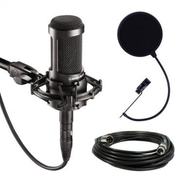 Audio-Technica AT2035 Large Diaphragm Studio with Shock Mount, Pop Filter, and XLR Cable