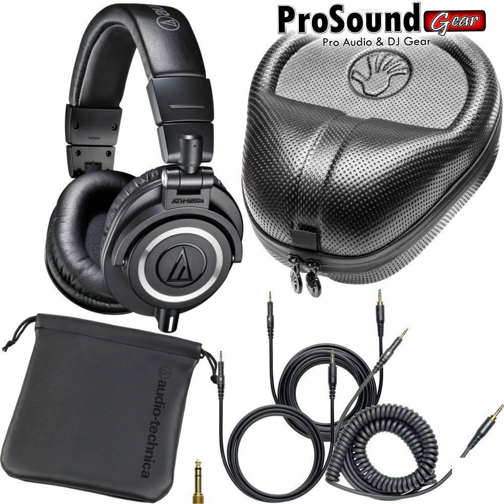 audio technica ath m50x professional free cables bag and. Black Bedroom Furniture Sets. Home Design Ideas