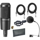 Audio Technica AT2035 W/Shock Mount , Pop Filter, and (2) 20' XLR Microphone Cable