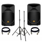 BEHRINGER EUROLIVE B115D (PAIR) With Speaker Stand + 2 XLR Cables